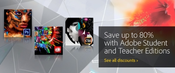 Teachers and students receive deep discounts on Adobe products!