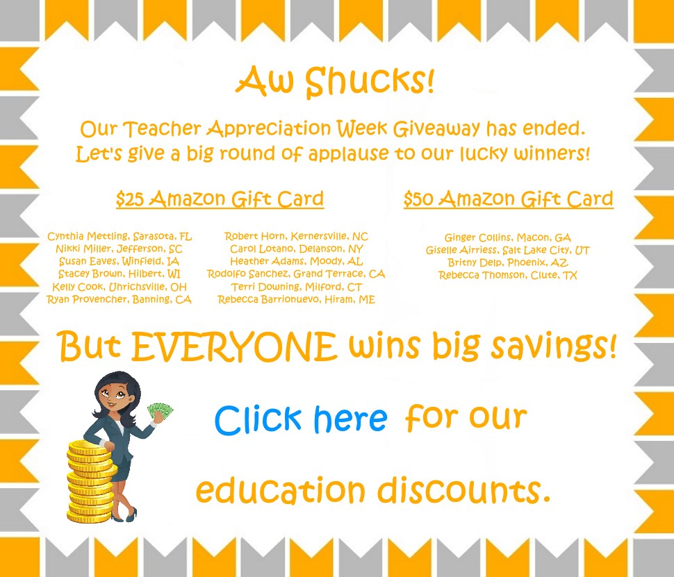 My Education Discount's Teacher Appreciation Week Giveaway!